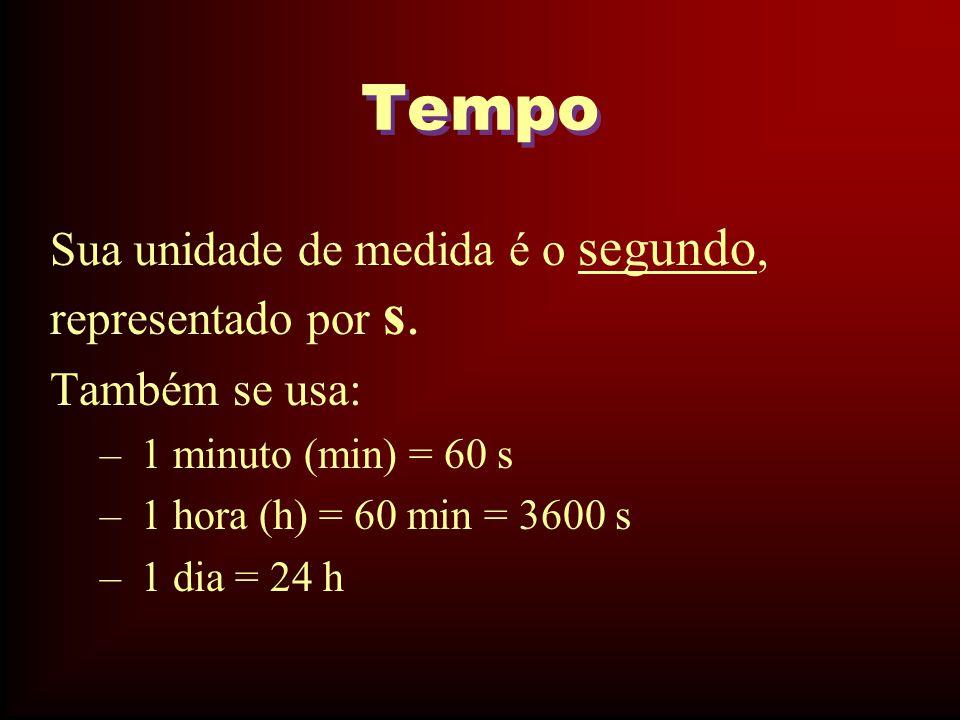 Tempo Sua unidade de medida é o segundo, representado por s.