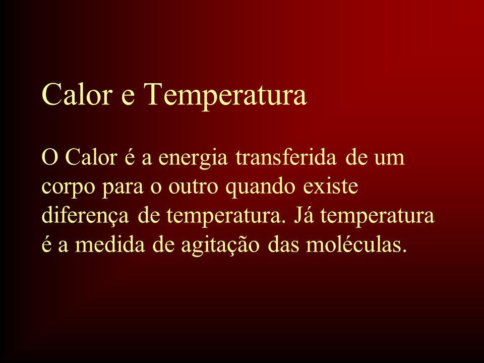 Calor e Temperatura O Calor é a energia transferida de um corpo para o outro quando existe diferença de temperatura.