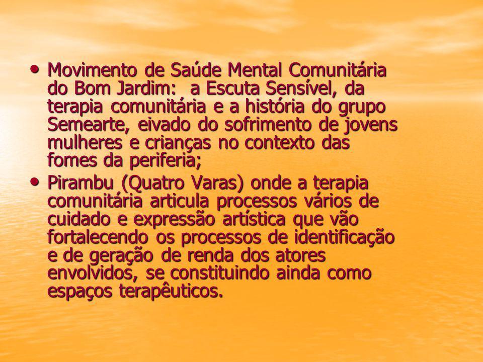 Movimento de Saúde Mental Comunitária do Bom Jardim: a Escuta Sensível, da terapia comunitária e a história do grupo Semearte, eivado do sofrimento de jovens mulheres e crianças no contexto das fomes da periferia;