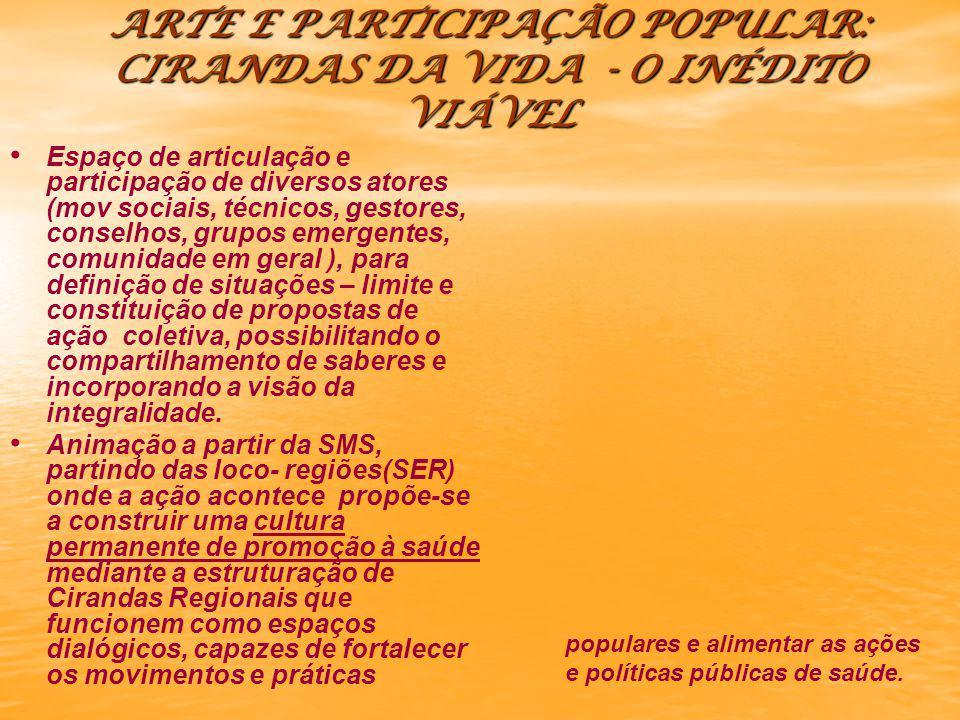 ARTE E PARTICIPAÇÃO POPULAR: CIRANDAS DA VIDA - O INÉDITO VIÁVEL