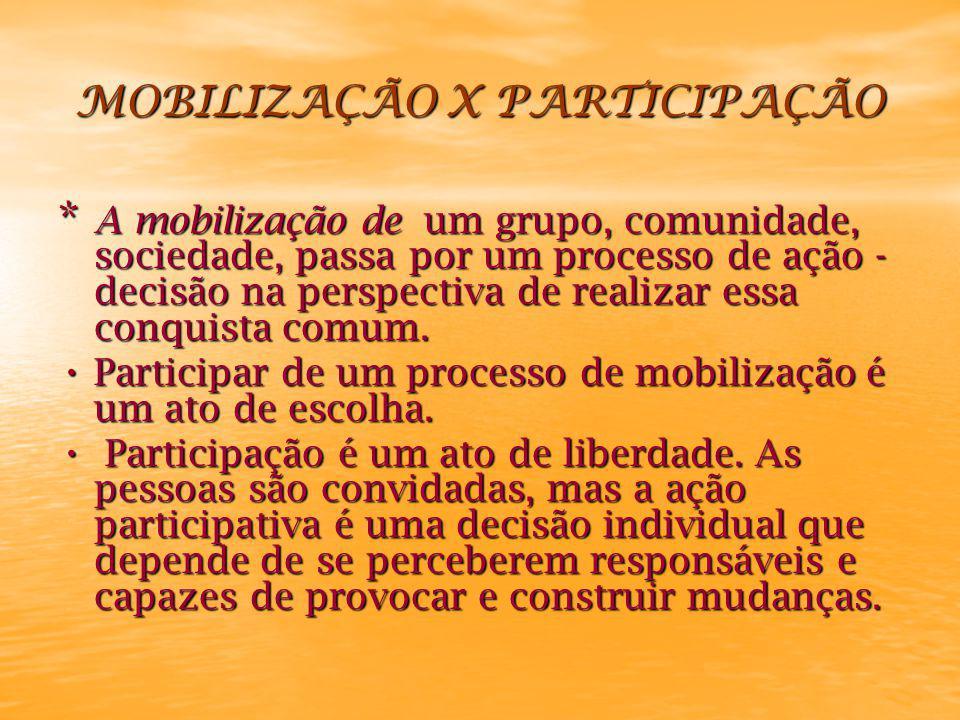 MOBILIZAÇÃO X PARTICIPAÇÃO