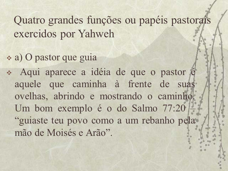 Quatro grandes funções ou papéis pastorais exercidos por Yahweh