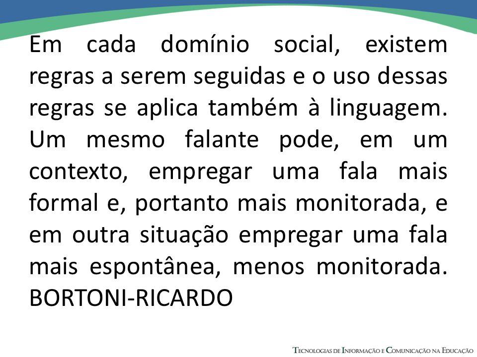 Em cada domínio social, existem regras a serem seguidas e o uso dessas regras se aplica também à linguagem.