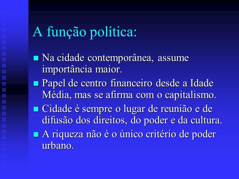 A função política: Na cidade contemporânea, assume importância maior.