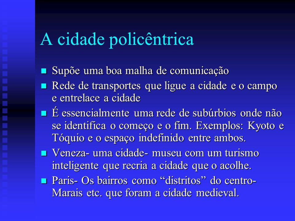 A cidade policêntrica Supõe uma boa malha de comunicação
