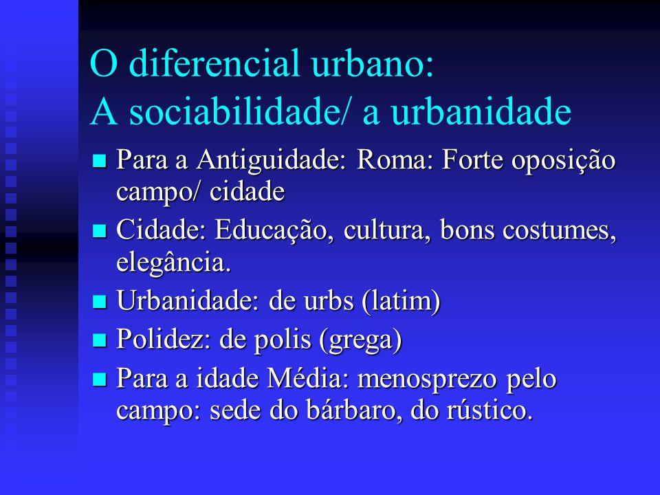 O diferencial urbano: A sociabilidade/ a urbanidade