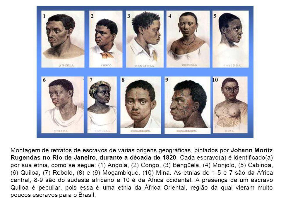Montagem de retratos de escravos de várias origens geográficas, pintados por Johann Moritz Rugendas no Rio de Janeiro, durante a década de 1820.