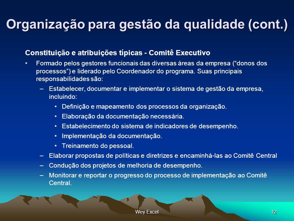 Organização para gestão da qualidade (cont.)