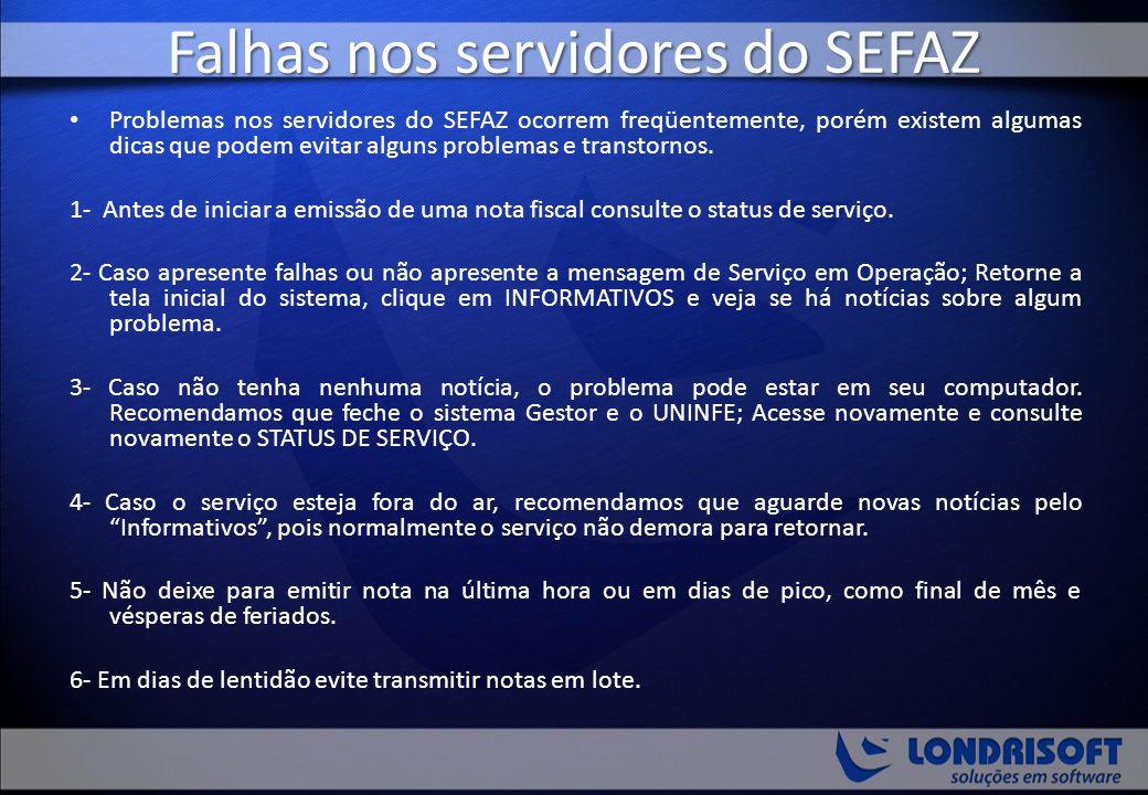 Falhas nos servidores do SEFAZ