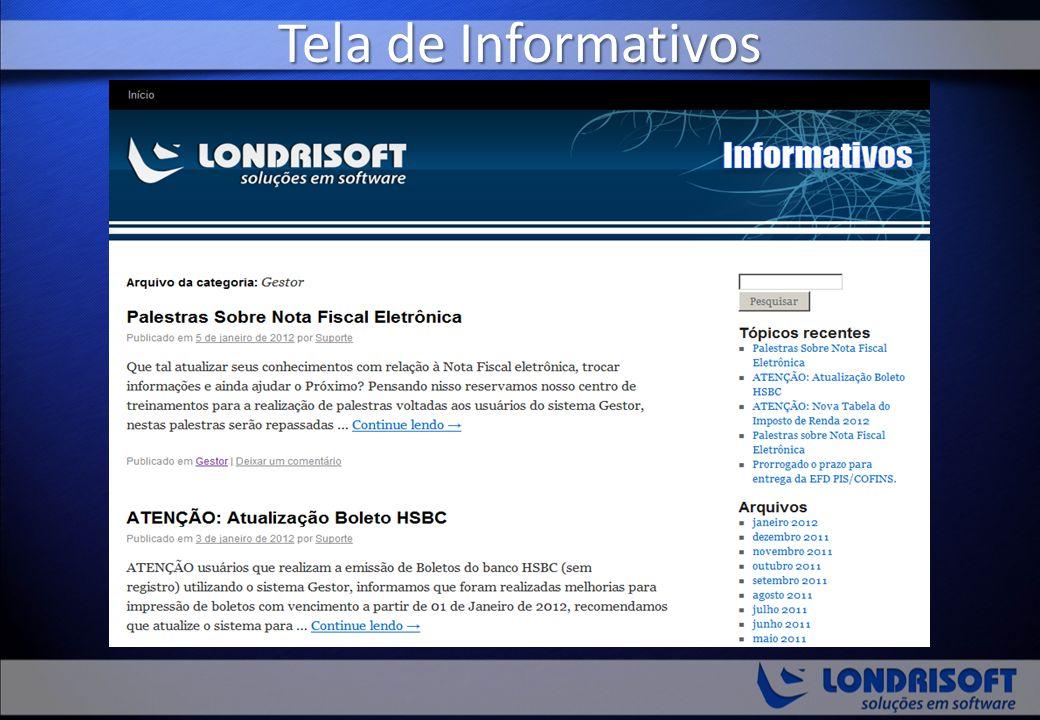 Tela de Informativos