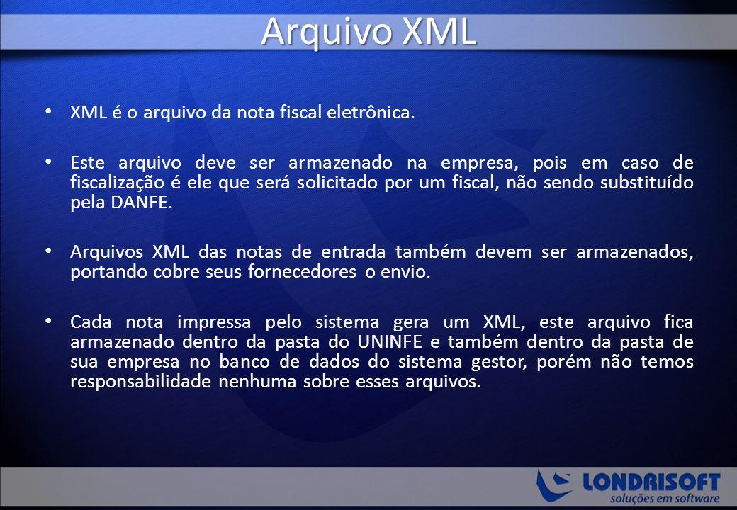 Arquivo XML XML é o arquivo da nota fiscal eletrônica.