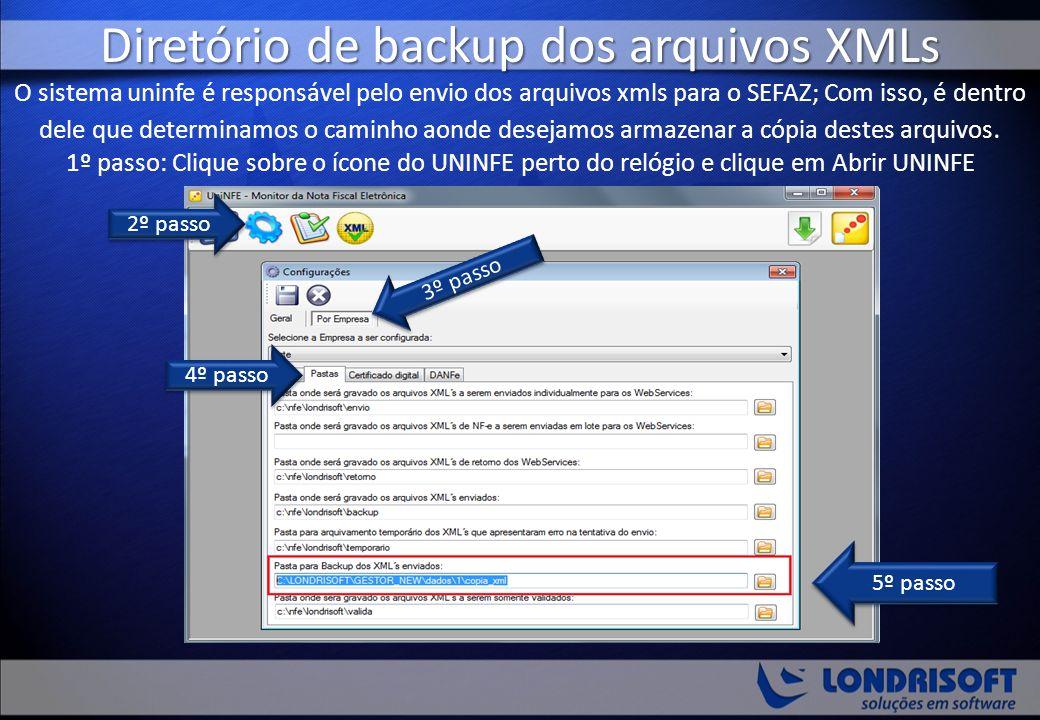 Diretório de backup dos arquivos XMLs O sistema uninfe é responsável pelo envio dos arquivos xmls para o SEFAZ; Com isso, é dentro dele que determinamos o caminho aonde desejamos armazenar a cópia destes arquivos. 1º passo: Clique sobre o ícone do UNINFE perto do relógio e clique em Abrir UNINFE