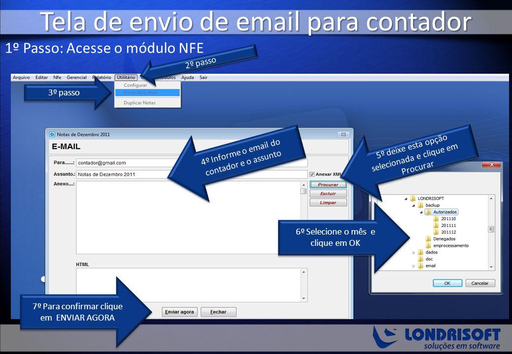 Tela de envio de email para contador