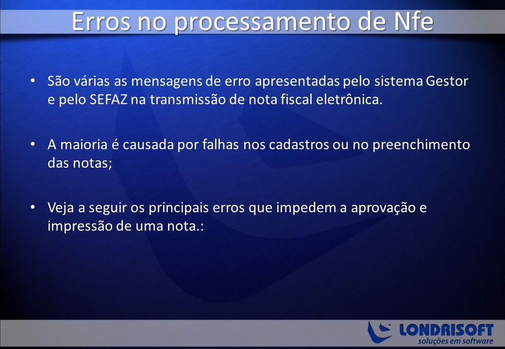 Erros no processamento de Nfe