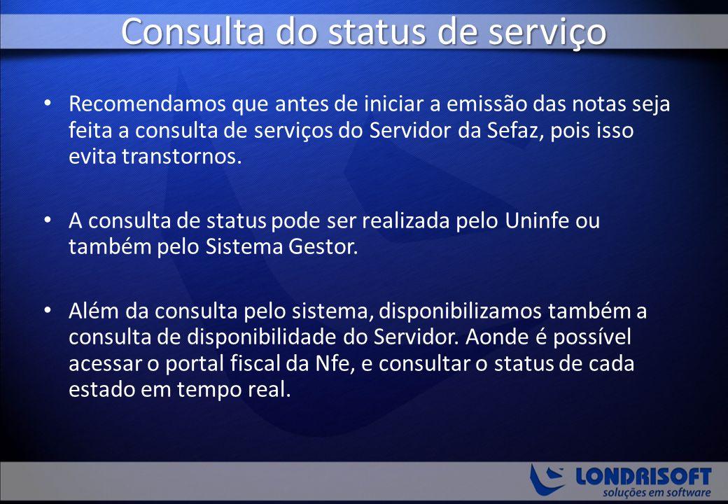 Consulta do status de serviço