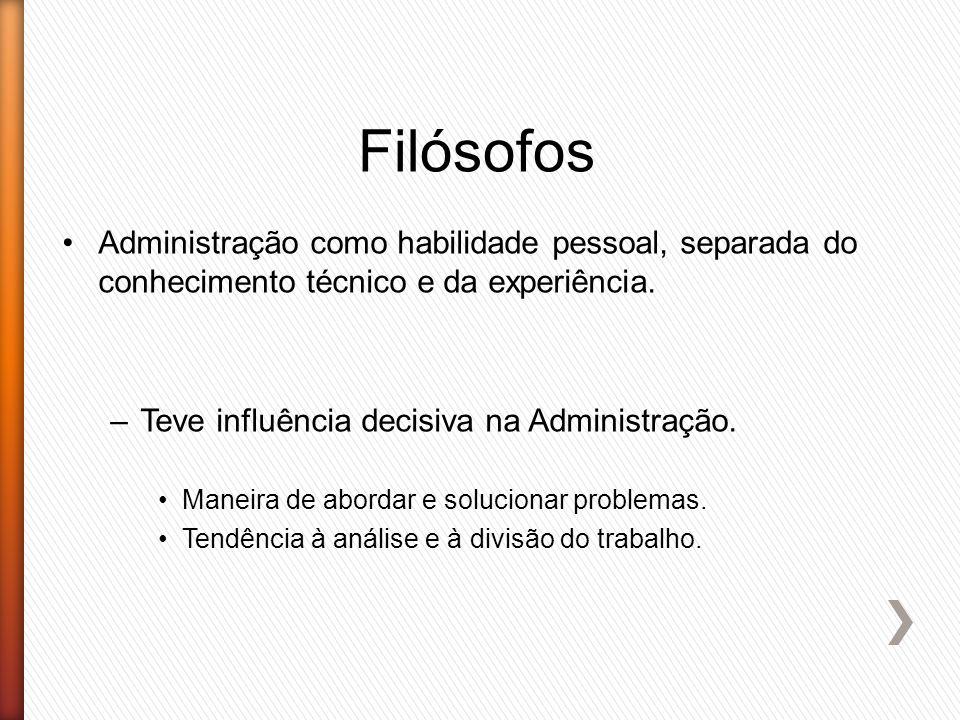Filósofos Administração como habilidade pessoal, separada do conhecimento técnico e da experiência.