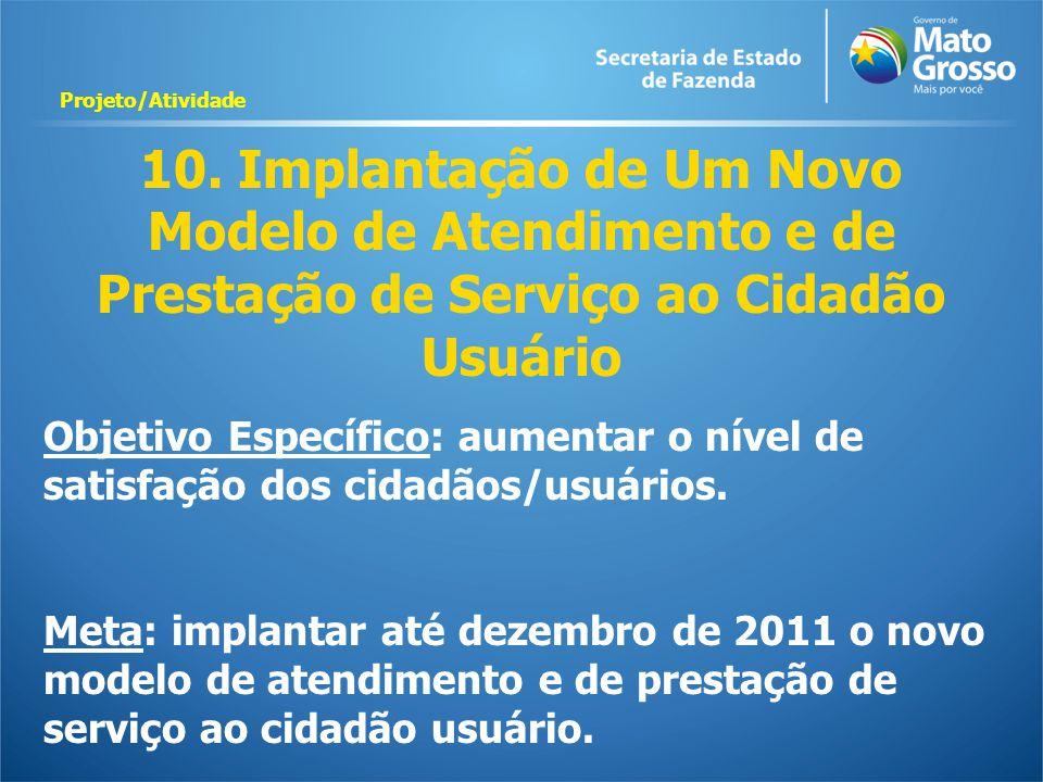 Projeto/Atividade 10. Implantação de Um Novo Modelo de Atendimento e de Prestação de Serviço ao Cidadão Usuário.