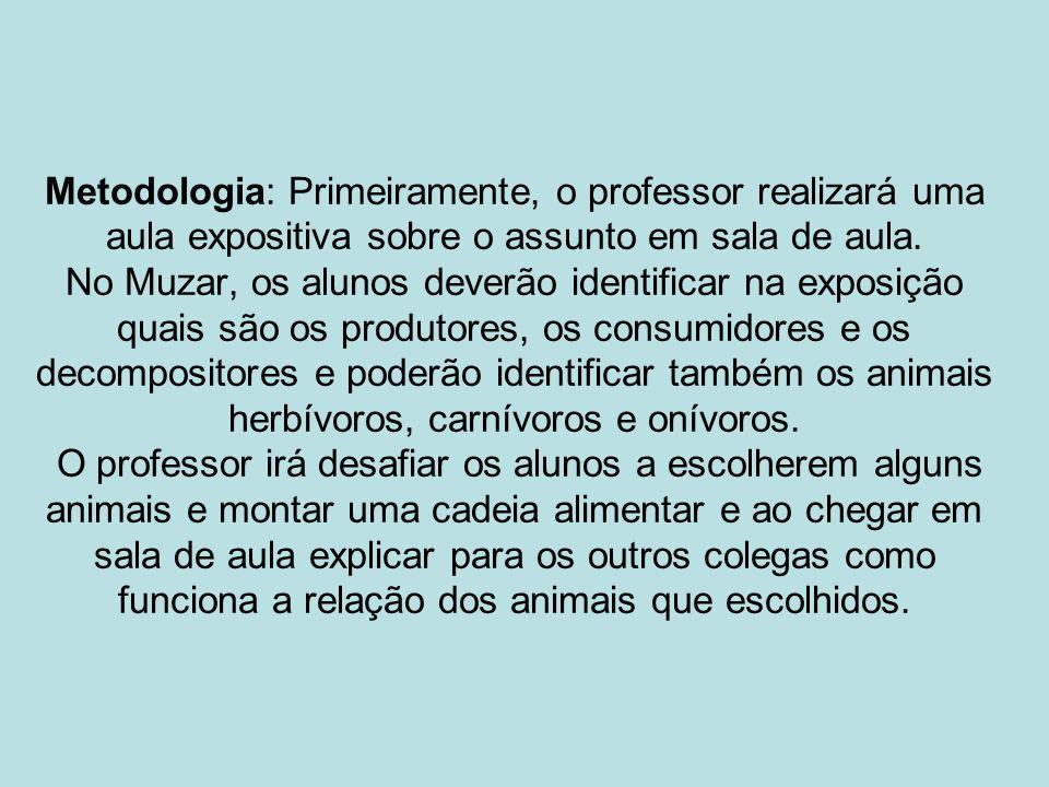 Metodologia: Primeiramente, o professor realizará uma aula expositiva sobre o assunto em sala de aula.