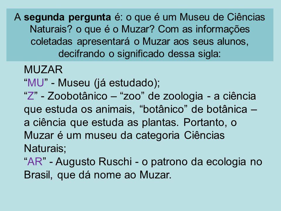 A segunda pergunta é: o que é um Museu de Ciências Naturais