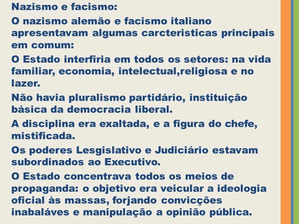 Nazismo e facismo: O nazismo alemão e facismo italiano apresentavam algumas carcteristicas principais em comum: