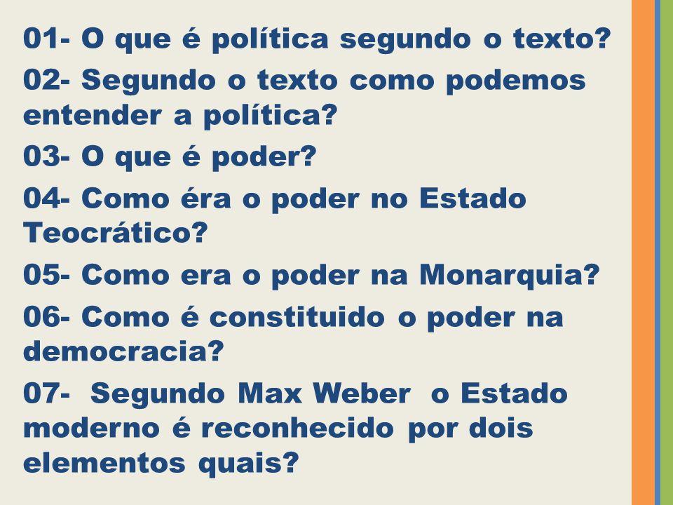 01- O que é política segundo o texto