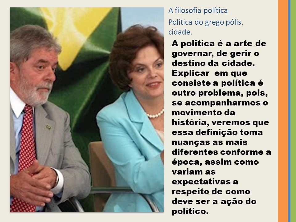 A filosofia política Política do grego pólis, cidade.