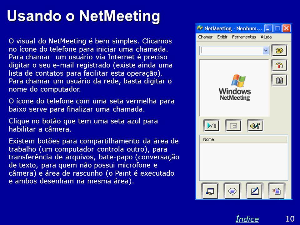 Usando o NetMeeting Índice 10