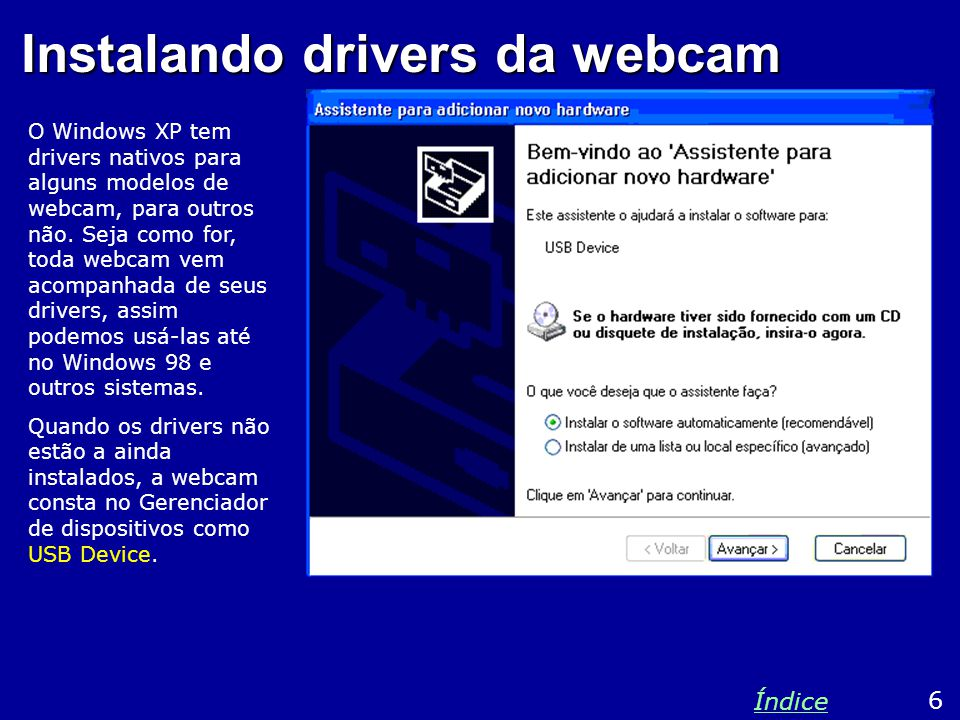 Instalando drivers da webcam