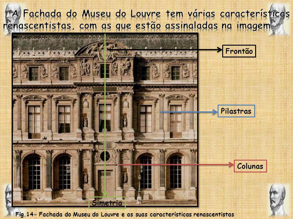 A Fachada do Museu do Louvre tem várias características renascentistas, com as que estão assinaladas na imagem.
