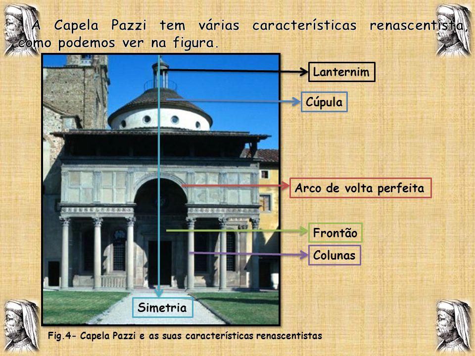 A Capela Pazzi tem várias características renascentista, como podemos ver na figura.