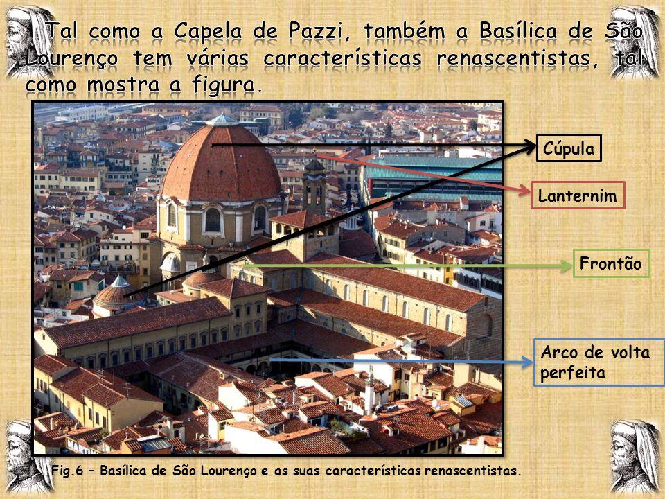 Tal como a Capela de Pazzi, também a Basílica de São Lourenço tem várias características renascentistas, tal como mostra a figura.