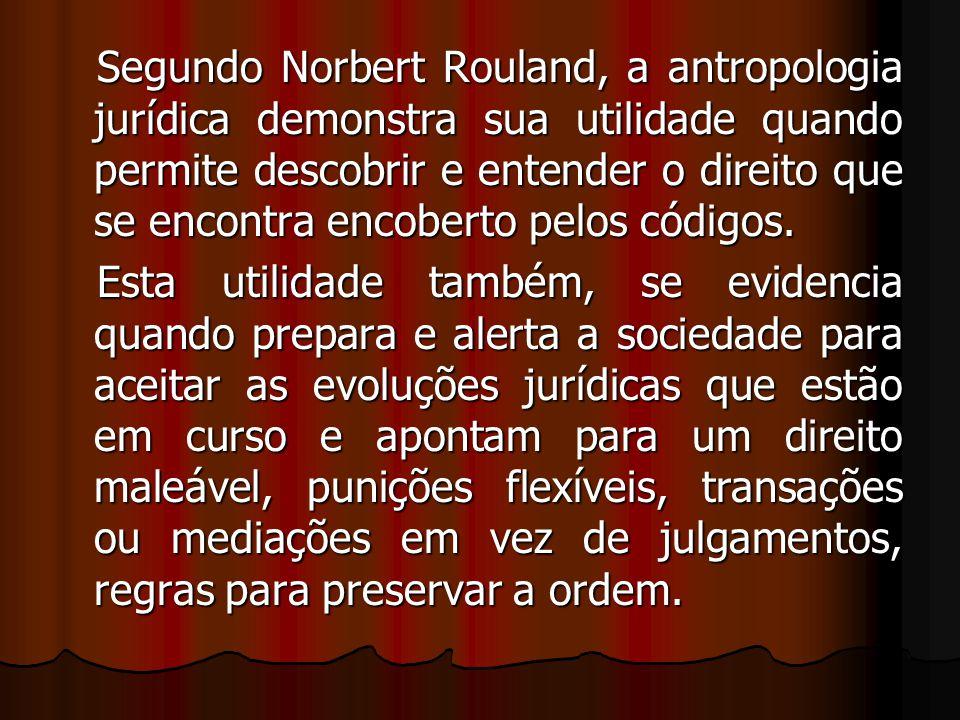 Segundo Norbert Rouland, a antropologia jurídica demonstra sua utilidade quando permite descobrir e entender o direito que se encontra encoberto pelos códigos.