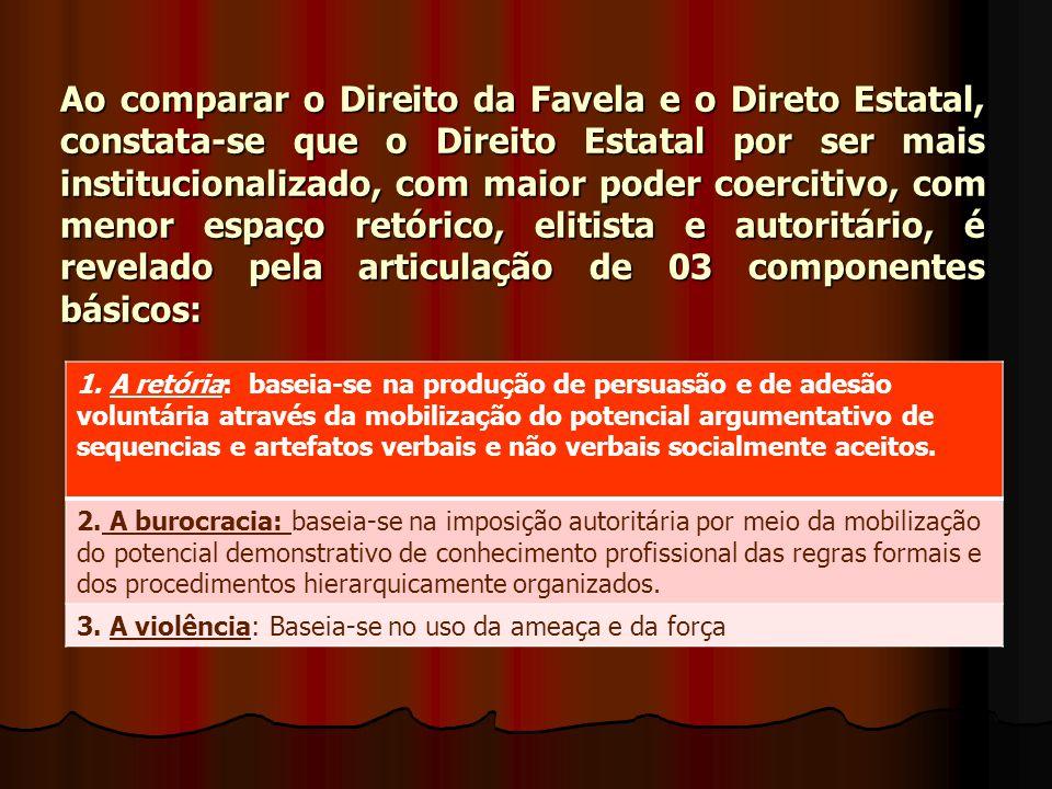 Ao comparar o Direito da Favela e o Direto Estatal, constata-se que o Direito Estatal por ser mais institucionalizado, com maior poder coercitivo, com menor espaço retórico, elitista e autoritário, é revelado pela articulação de 03 componentes básicos: