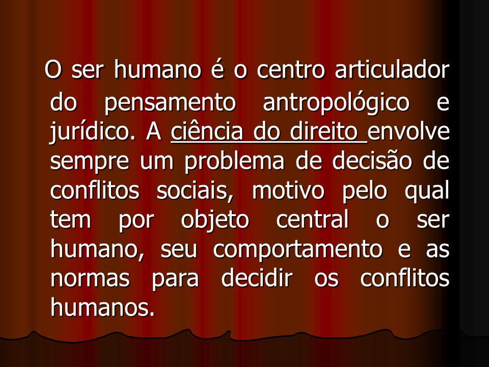 O ser humano é o centro articulador do pensamento antropológico e jurídico.
