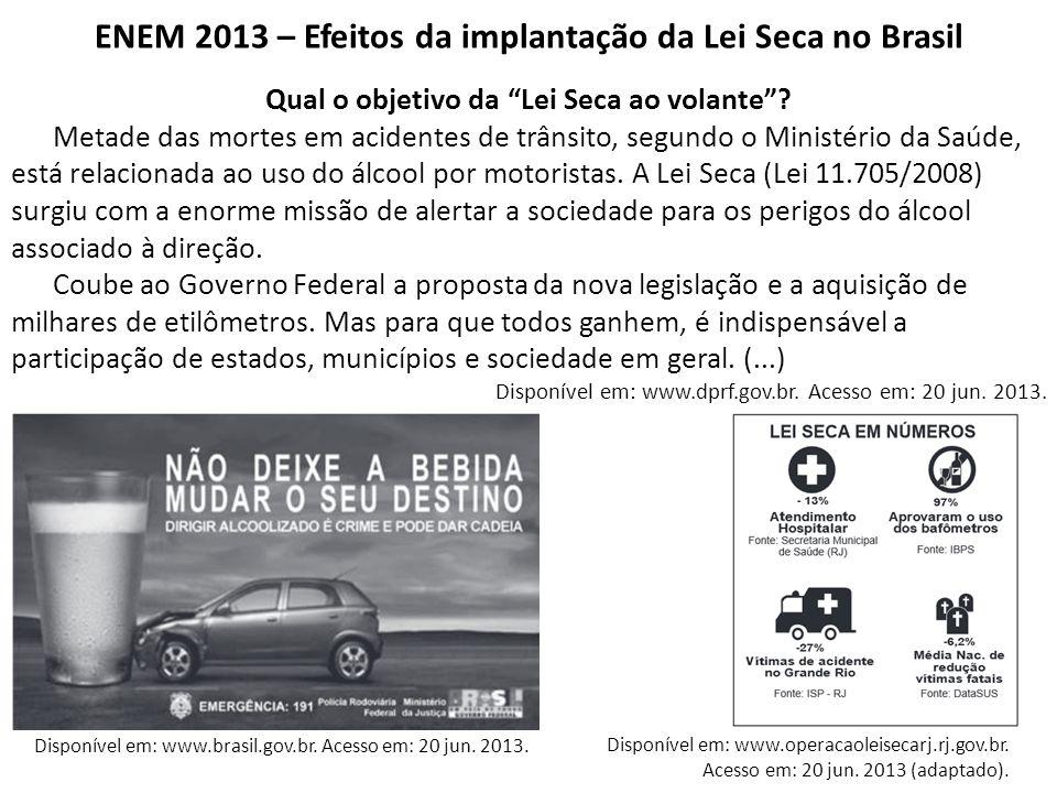 ENEM 2013 – Efeitos da implantação da Lei Seca no Brasil