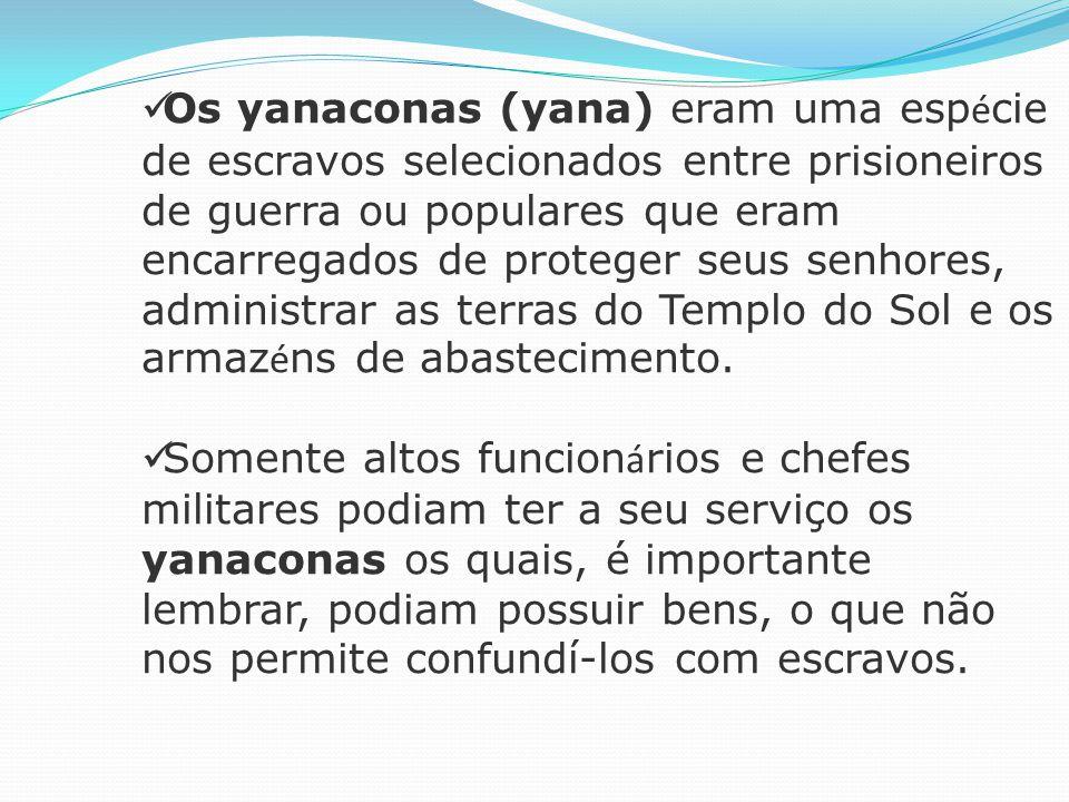 Os yanaconas (yana) eram uma espécie de escravos selecionados entre prisioneiros de guerra ou populares que eram encarregados de proteger seus senhores, administrar as terras do Templo do Sol e os armazéns de abastecimento.
