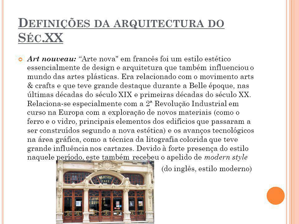 Definições da arquitectura do Séc.XX