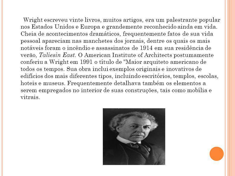 Wright escreveu vinte livros, muitos artigos, era um palestrante popular nos Estados Unidos e Europa e grandemente reconhecido ainda em vida.
