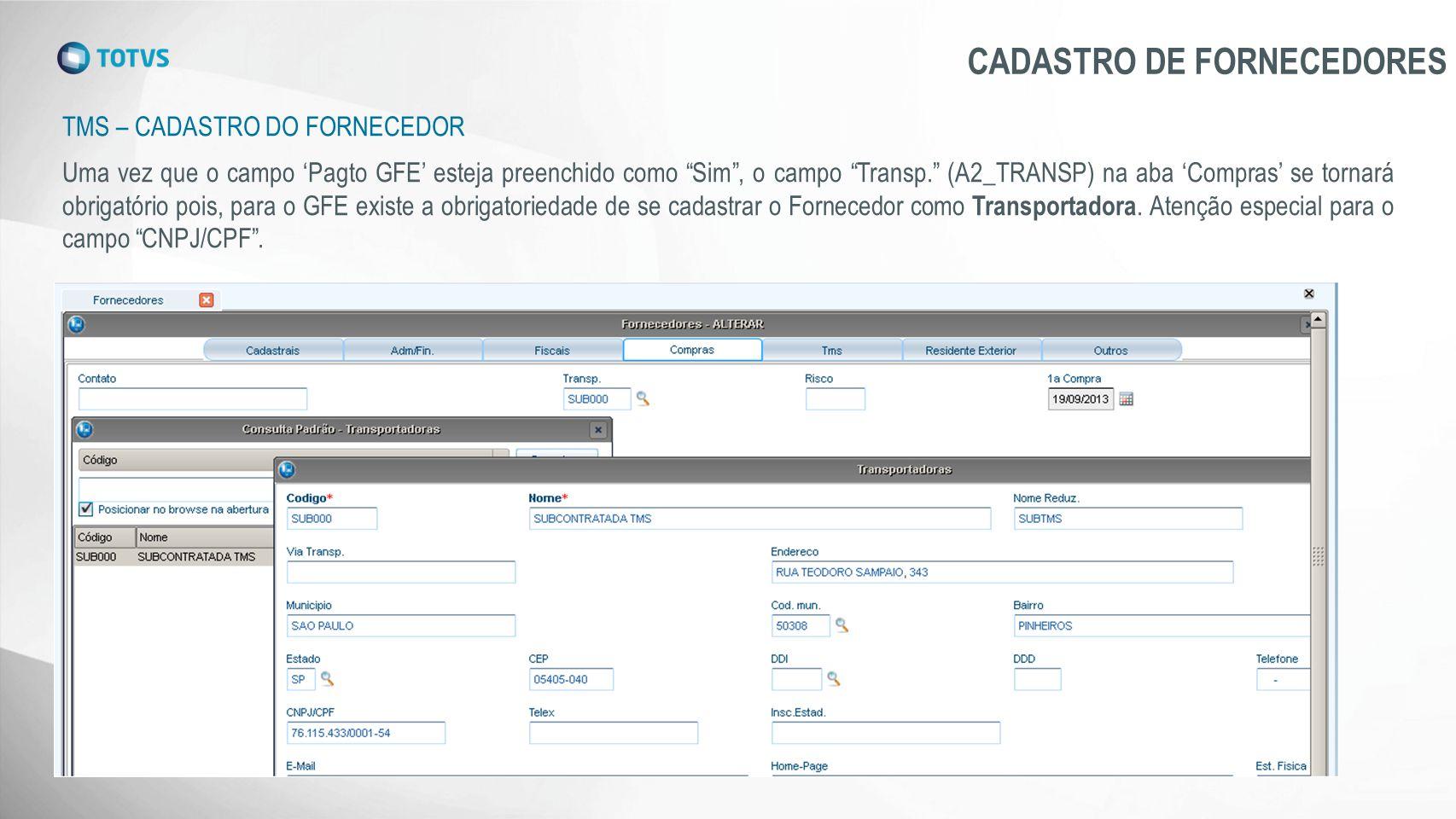 CADASTRO DE FORNECEDORES