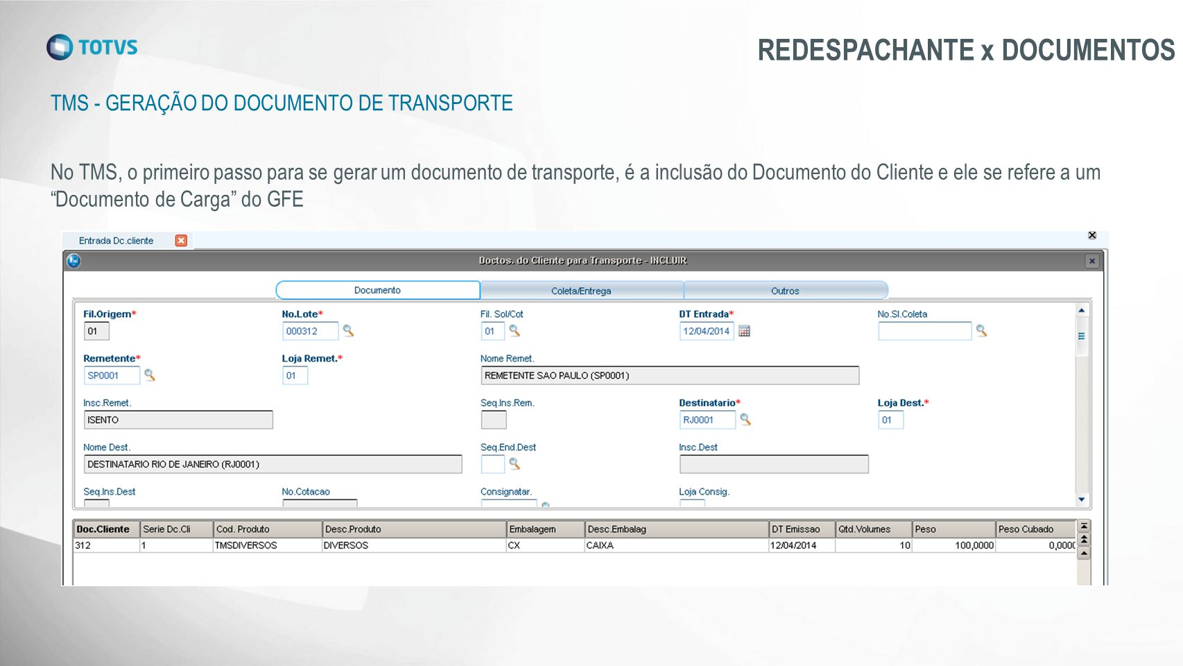 REDESPACHANTE x DOCUMENTOS