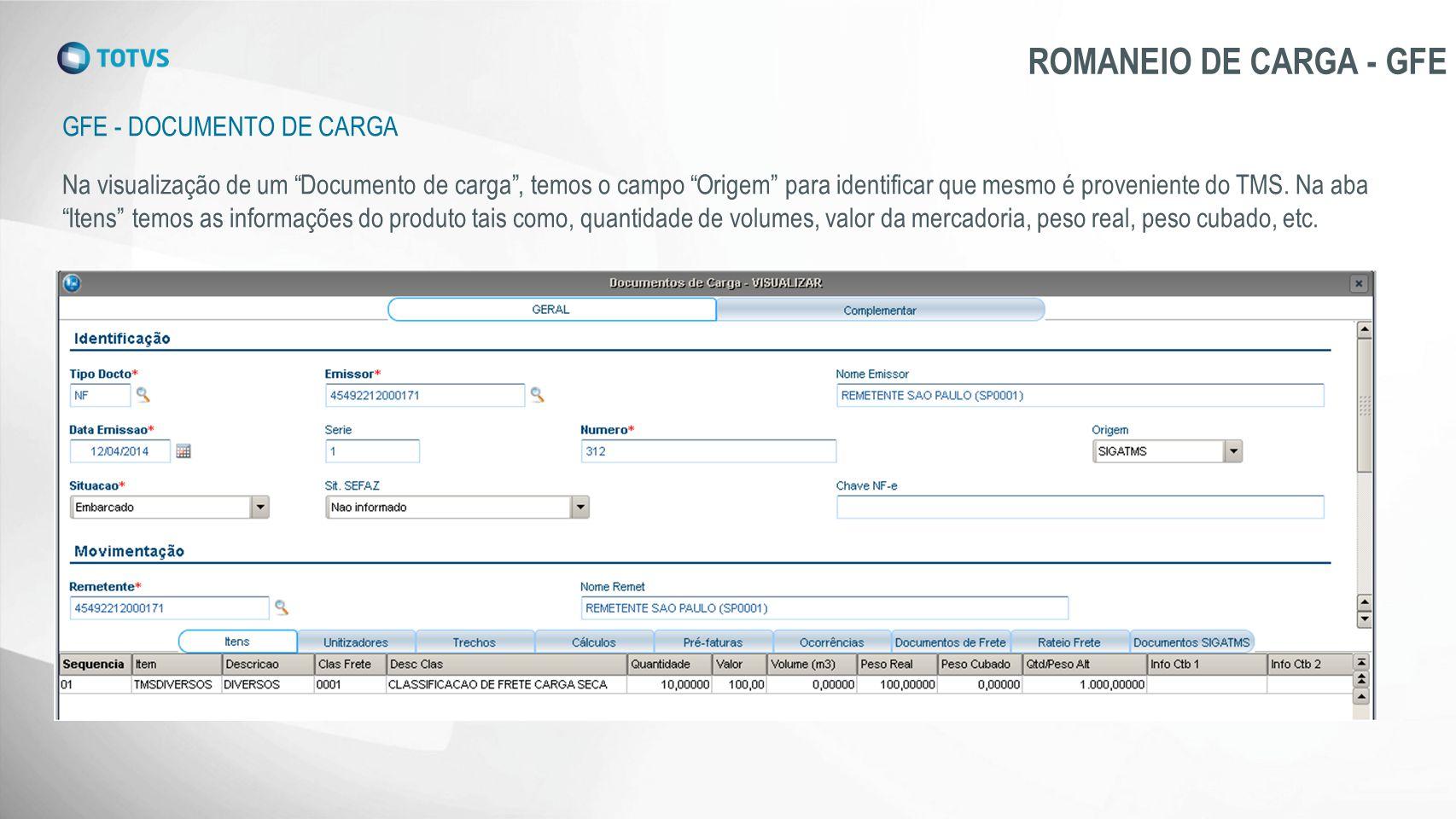 ROMANEIO DE CARGA - GFE Gfe - DOCUMENTO DE CARGA