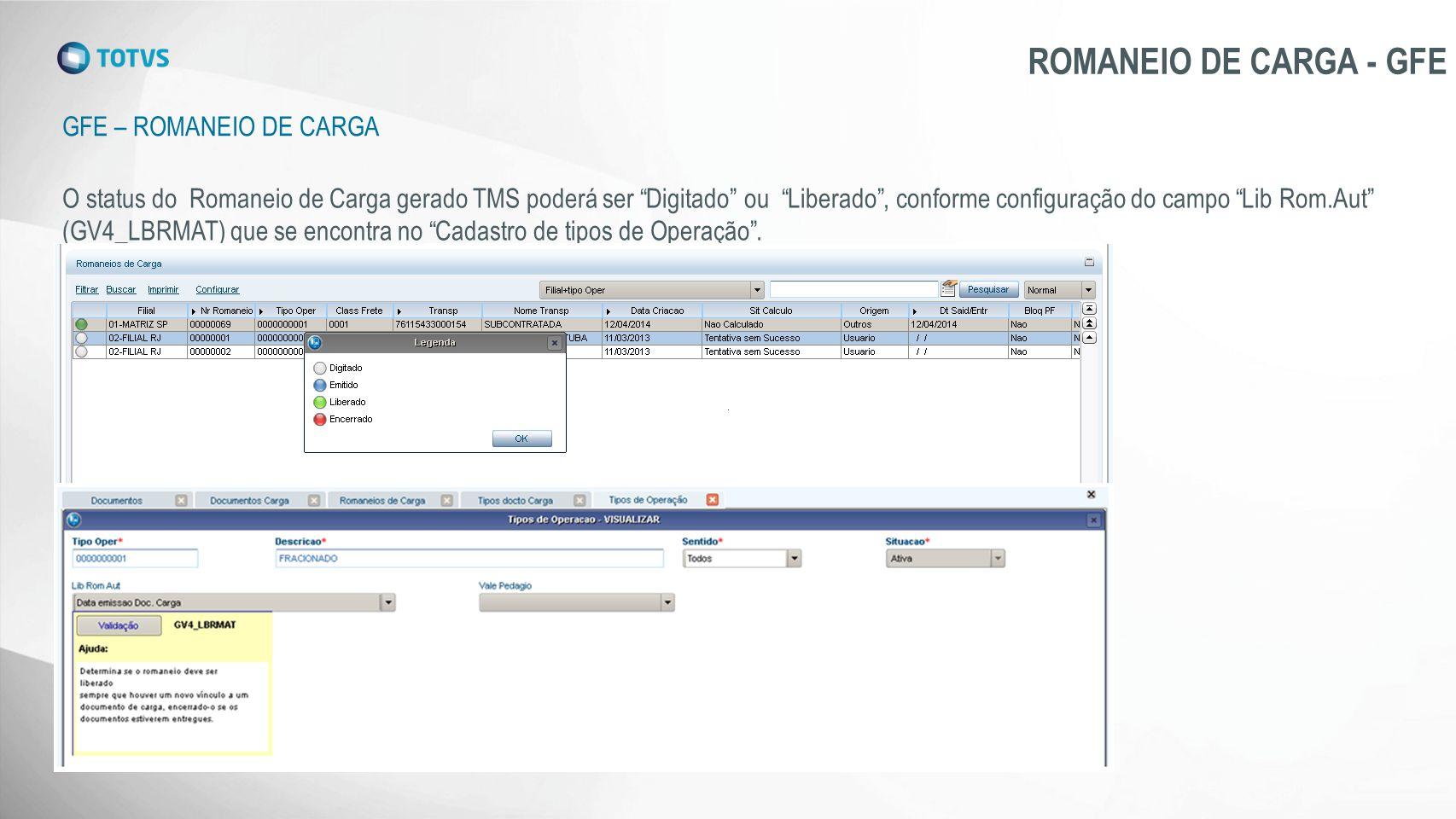 ROMANEIO DE CARGA - GFE Gfe – Romaneio de carga