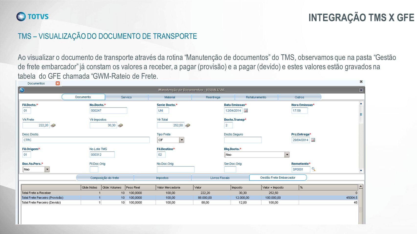 INTEGRAÇÃO TMS X GFE TMS – Visualização do documento de transporte