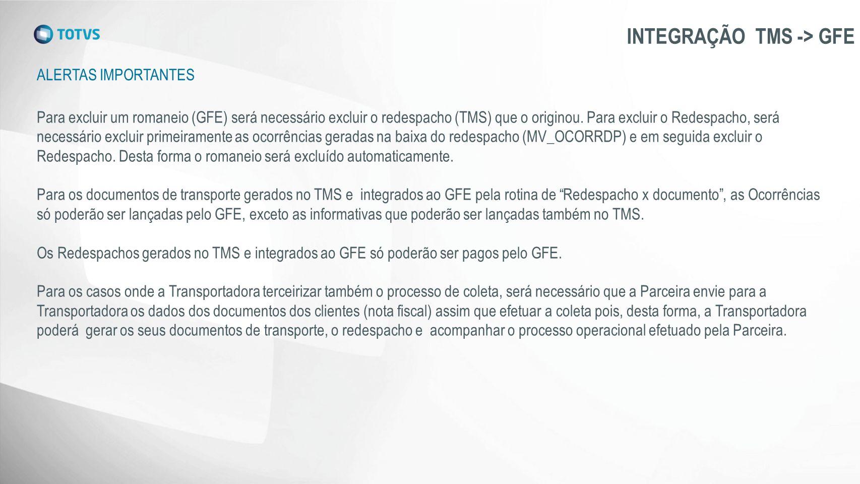 INTEGRAÇÃO TMS -> GFE