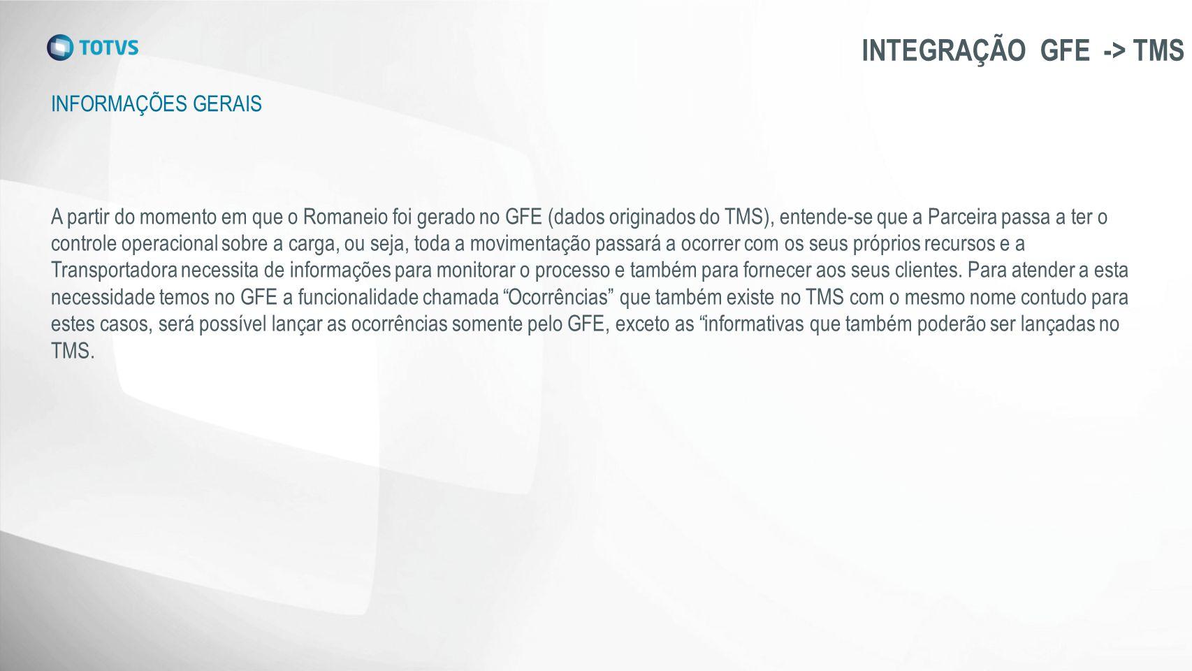 INTEGRAÇÃO GFE -> TMS