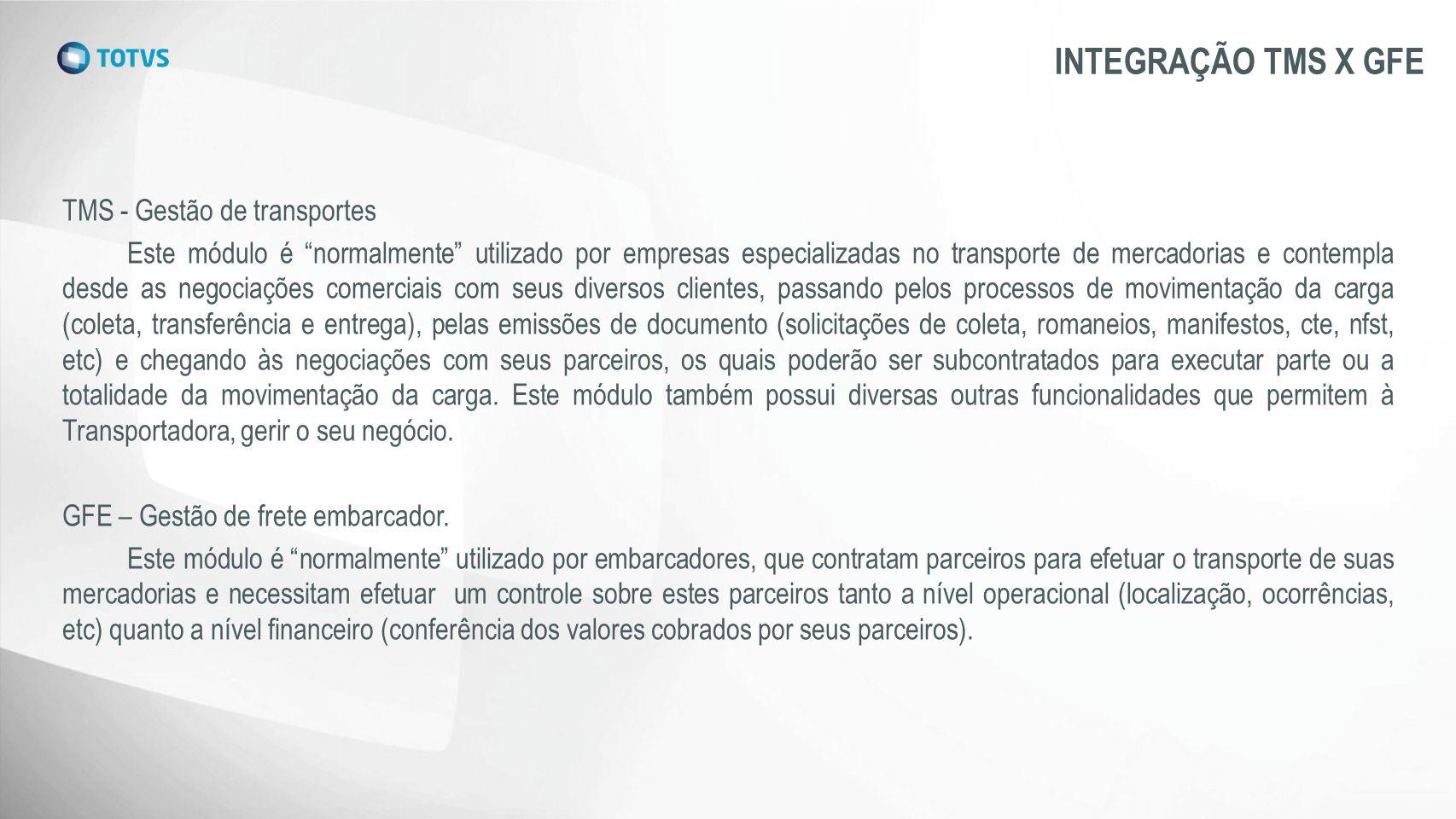 INTEGRAÇÃO TMS X GFE