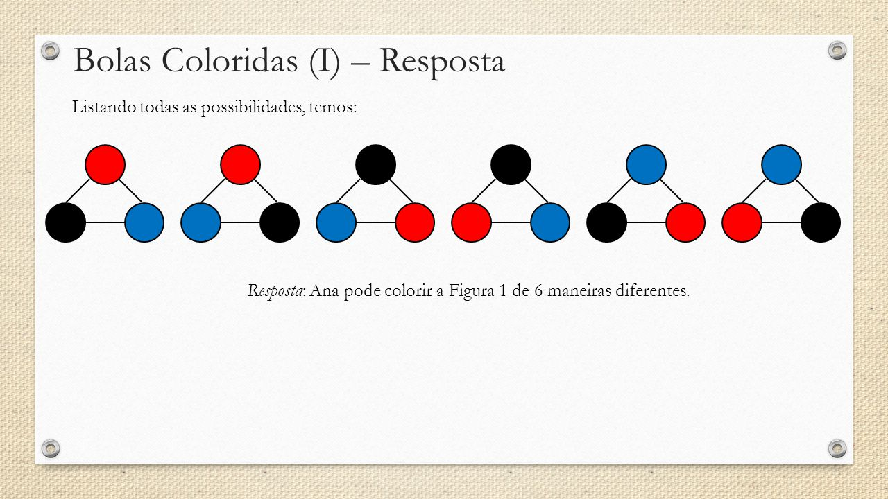 Bolas Coloridas (I) – Resposta