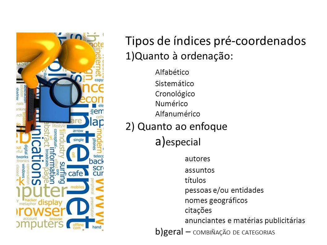 Tipos de índices pré-coordenados Alfabético