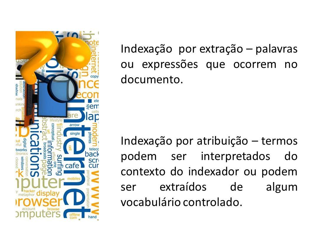 Indexação por extração – palavras ou expressões que ocorrem no documento.