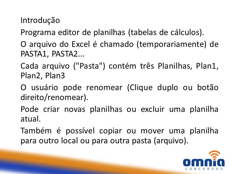 Introdução Programa editor de planilhas (tabelas de cálculos). O arquivo do Excel é chamado (temporariamente) de PASTA1, PASTA2...